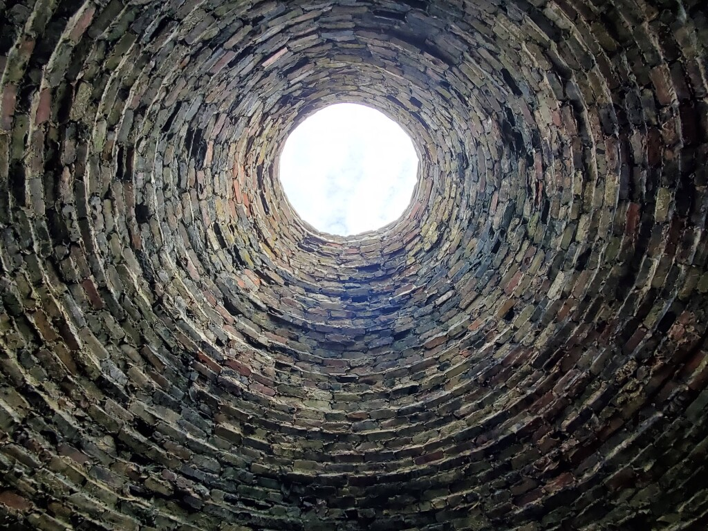 Looking up through the old kiln at Fayette Historic State Park, August
