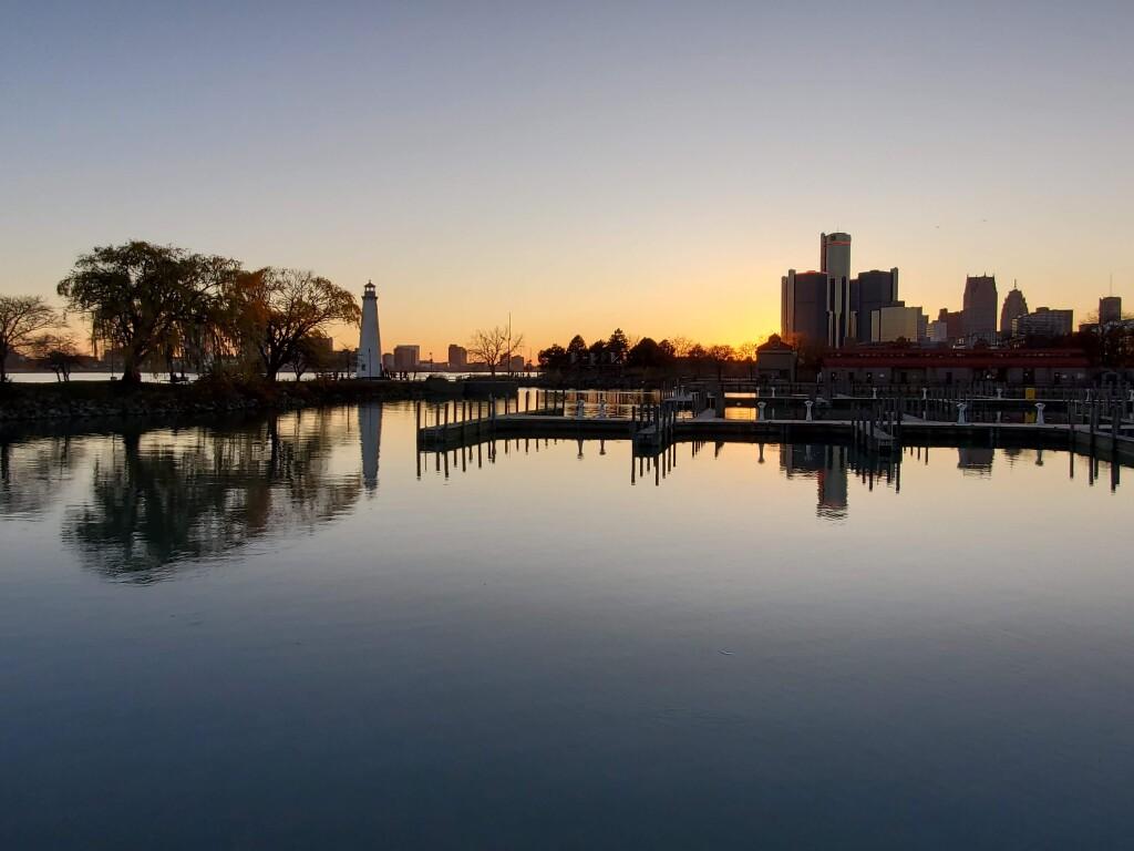 Milliken State Park sunset, Detroit, November