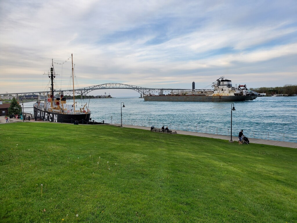 Lightship HURON and passing freighter, Port Huron, May