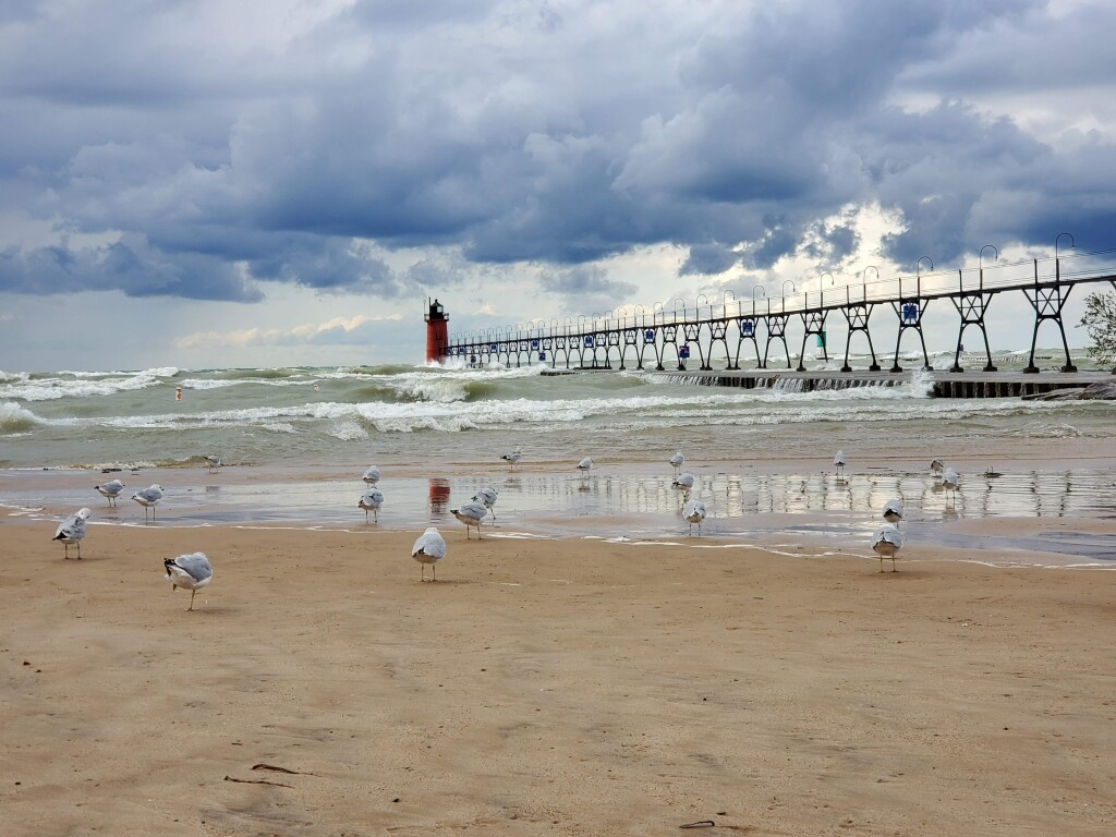 Windy day at South Haven Lighthouse, September
