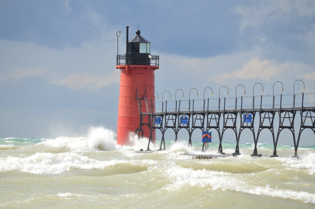 Waves at South Haven Lighthouse, September