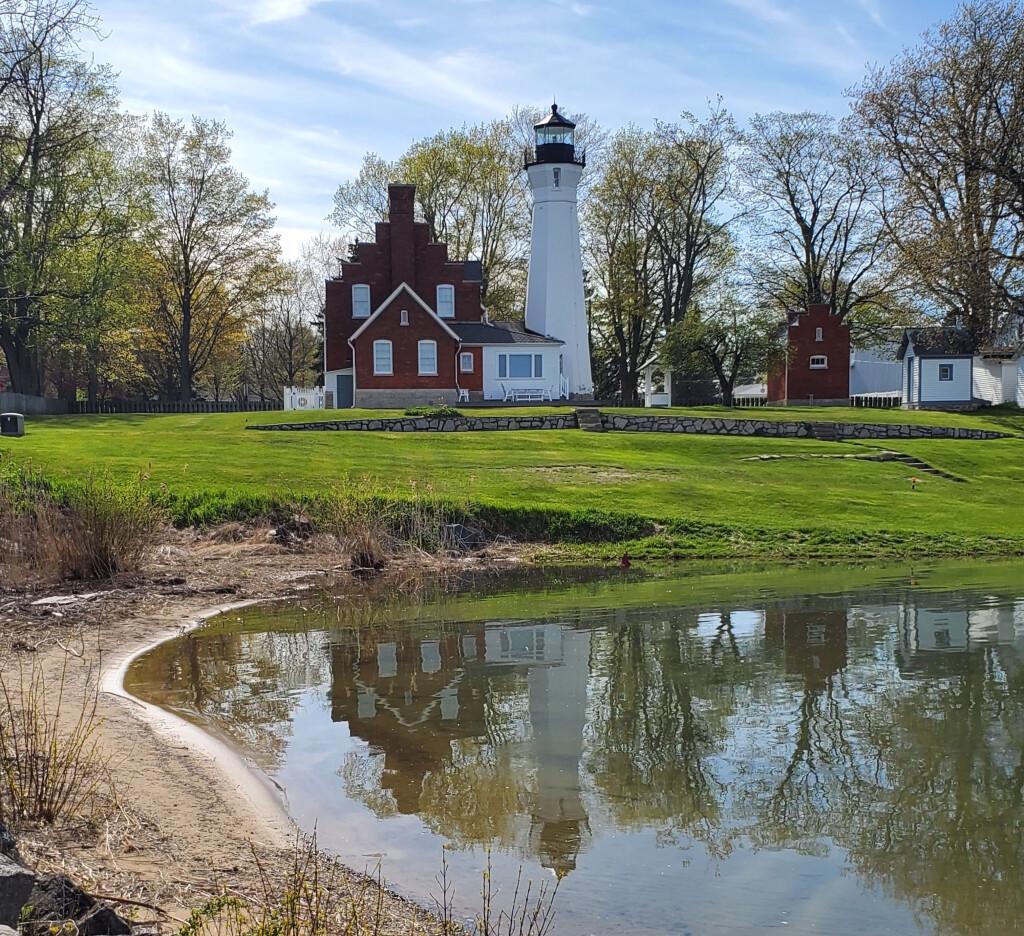 Port Sanilac Lighthouse reflection, May