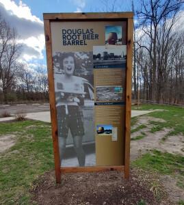 Douglas Root Beer Barrel Information Sign