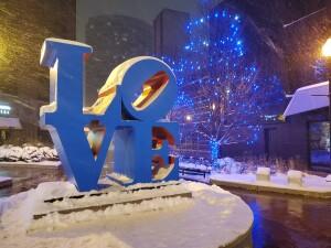Grand Rapids LOVE Sculpture Winter