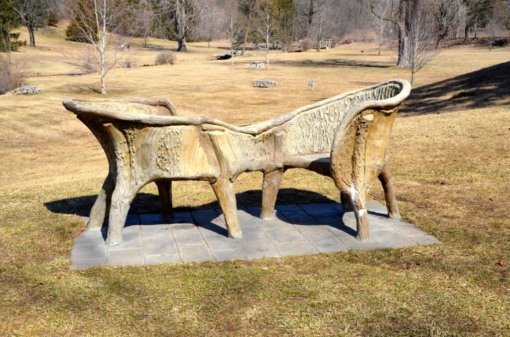 McCourtie Park Michigan Cement Wooden Bench