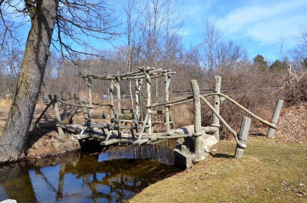 McCourtie Park Michigan Rope Bridge OVer River