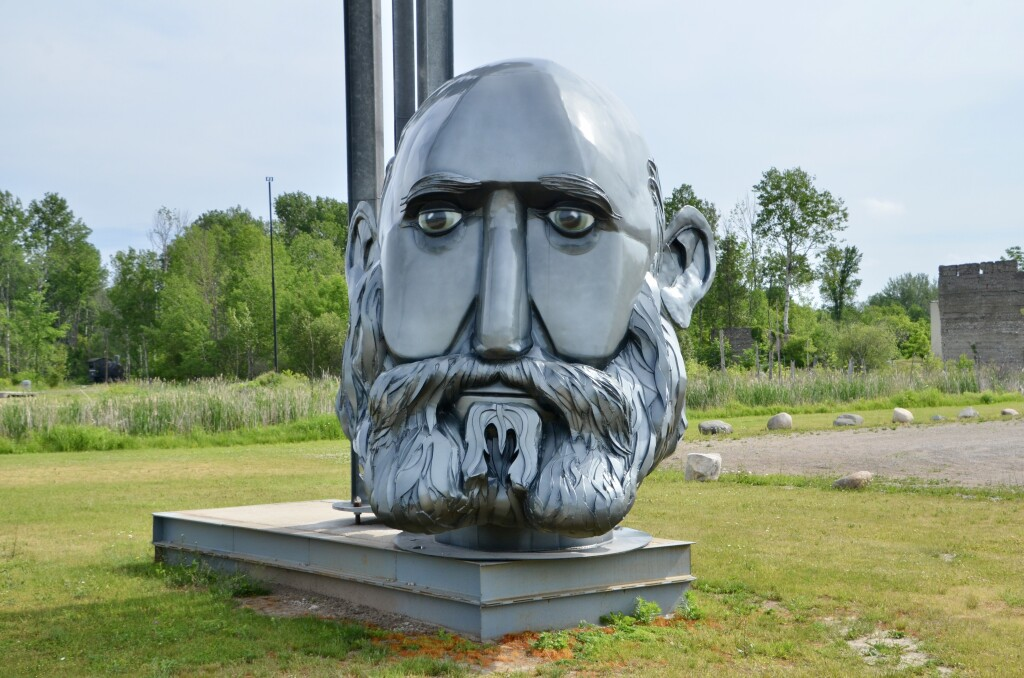 Awakon Park Entrance Onaway Michigan Bearded Man Sculpture