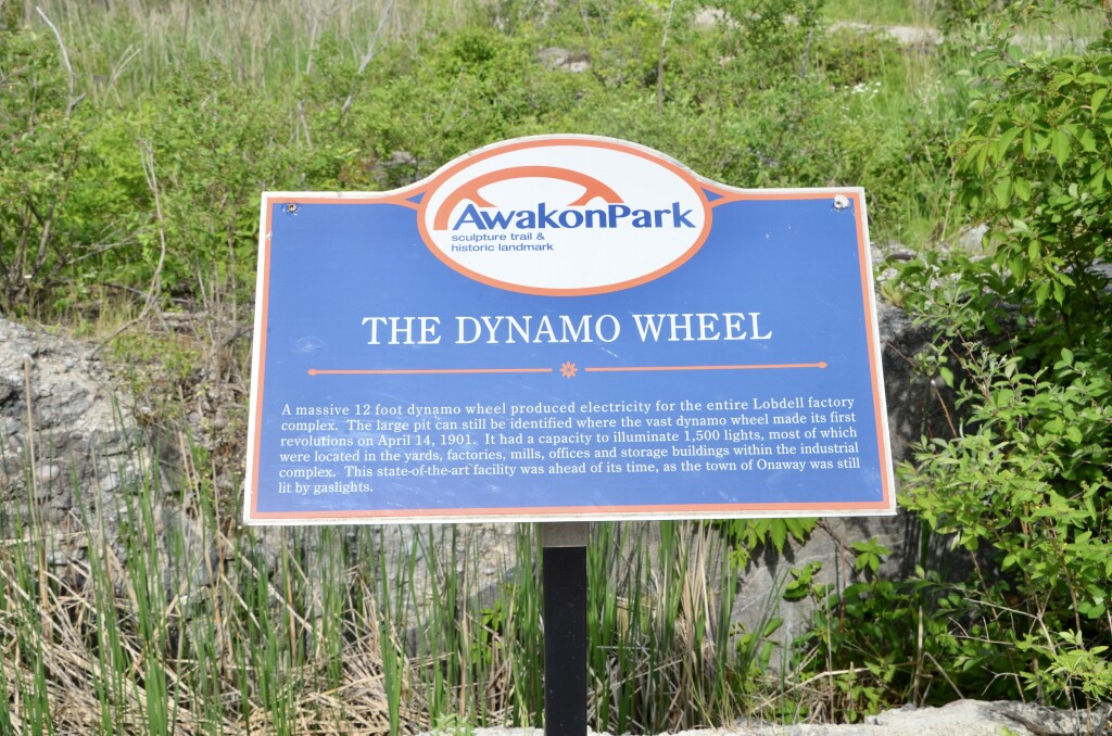 Awakon Park Onaway Michigan Dynamo Wheel Sign