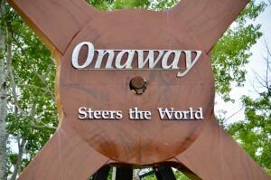 Awakon Park Onaway Michigan Large Steering Wheel Close Up