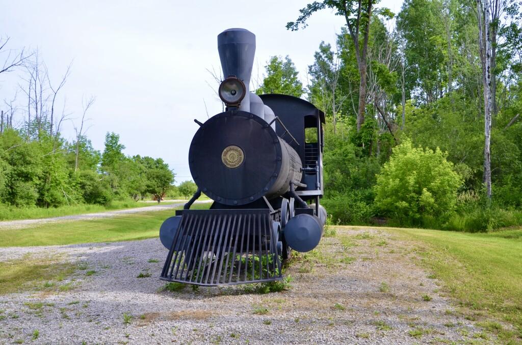 Awakon Park Train Sculpture Front Onaway Michigan