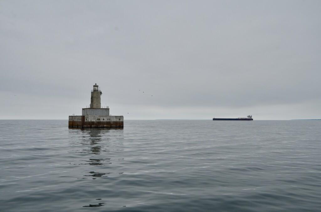 Lansing Shoal Lighthouse Walter J McCarthy Freighter Lake Michigan