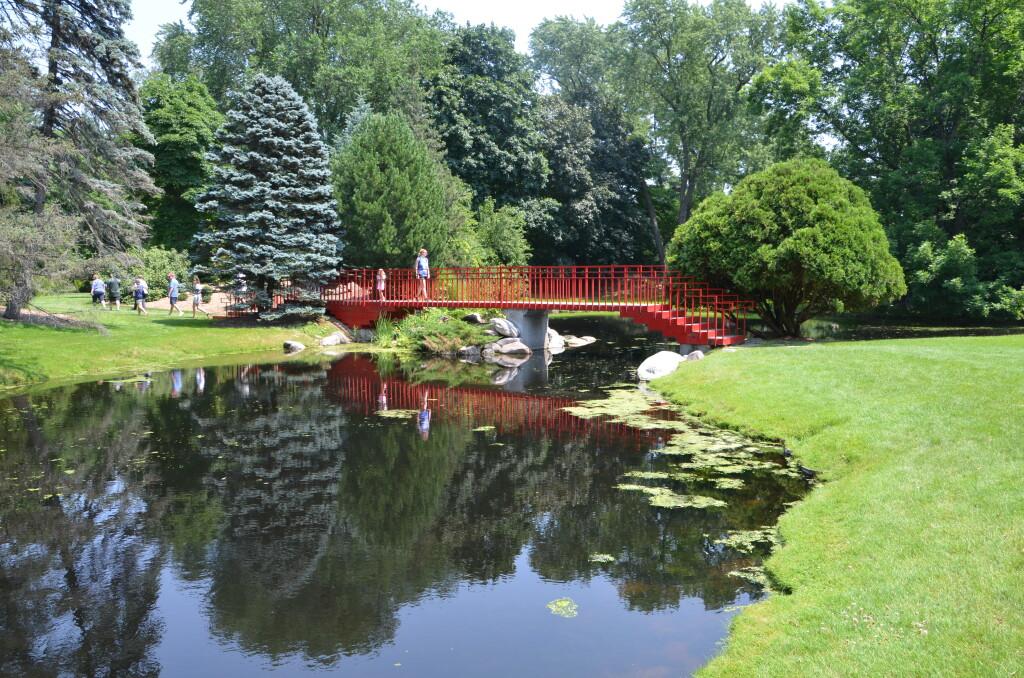 Dow Gardens Midland Michigan Red Bridge Reflection