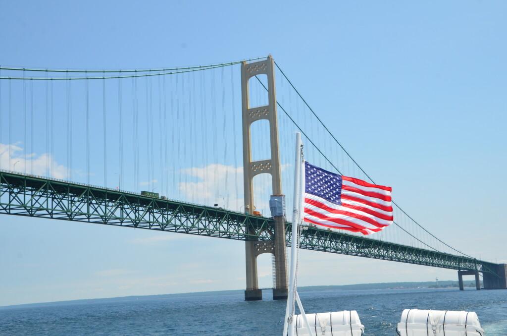 Sheplers Lighthouse Cruise 2021 Mackinac Bridge Flag