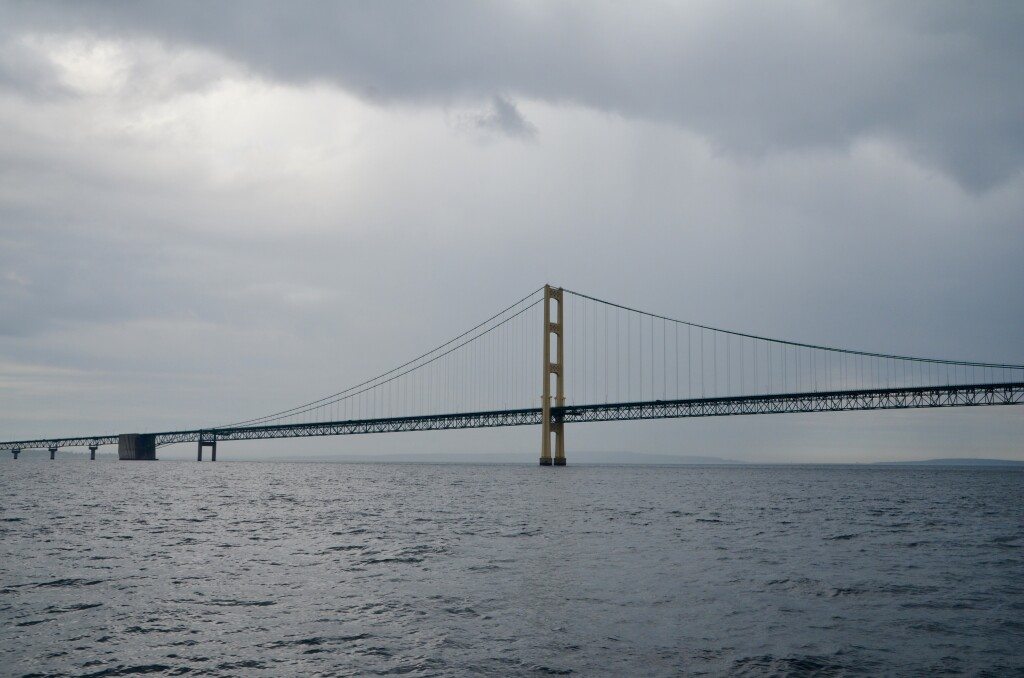 Sheplers Lighthouse Cruise 2021 Mackinac Bridge Gloomy Skies