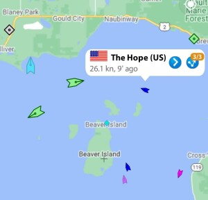 Tracking our cruise aboard The Hope on the Marine Traffic app
