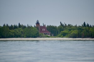Squaw Island Lighthouse Tree Cover Michigan